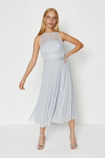 Silver Mesh Pleated Midi Dress