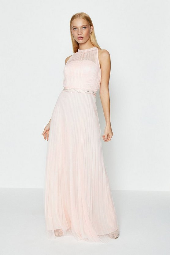Blush Mesh Pleat Maxi Dress
