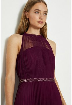 Merlot Mesh Pleat Maxi Dress