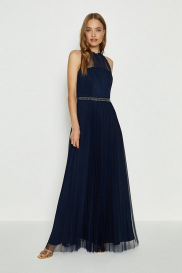 Navy Mesh Pleat Maxi Dress