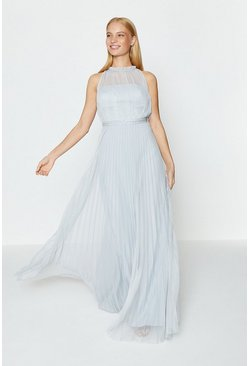 Silver Mesh Pleat Maxi Dress