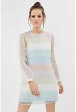 Multi Pastel Striped Organza Shift Dress