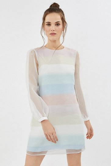 Multi Pastel Striped Long Sleeve Organza Shift Dress