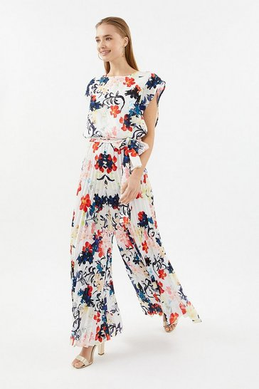 Multi Pleated Wide-Leg Jumpsuit