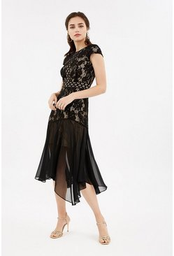 Black Lace Cap Sleeve Stretch Midi Dress