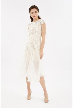 Ivory Lace Cap Sleeve Stretch Midi Dress