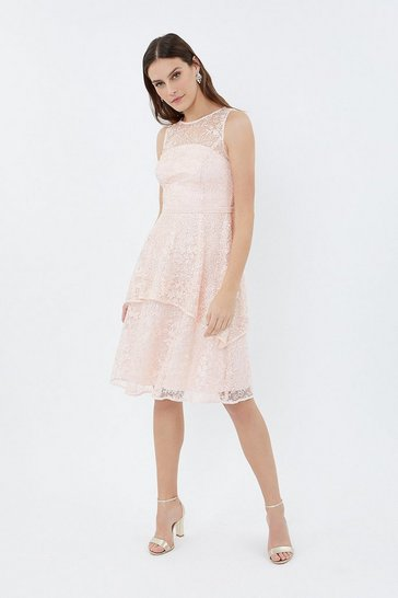 Blush Sleeveless Lace Tiered Dress