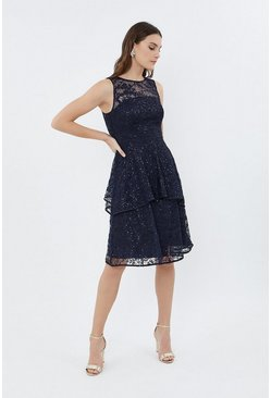 Navy Sleeveless Lace Tiered Dress