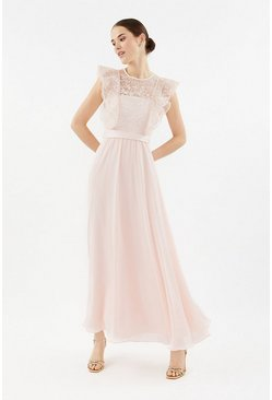 Blush Frilled Sleeve Lace Bodice Maxi Dress