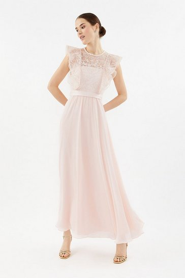 Blush Frilled Sleeve Lace Bodice Dress