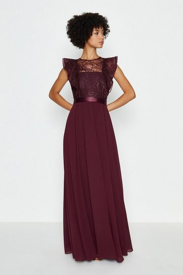 Merlot Frilled Sleeve Lace Bodice Maxi Dress