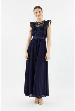 Navy Frilled Sleeve Lace Bodice Maxi Dress