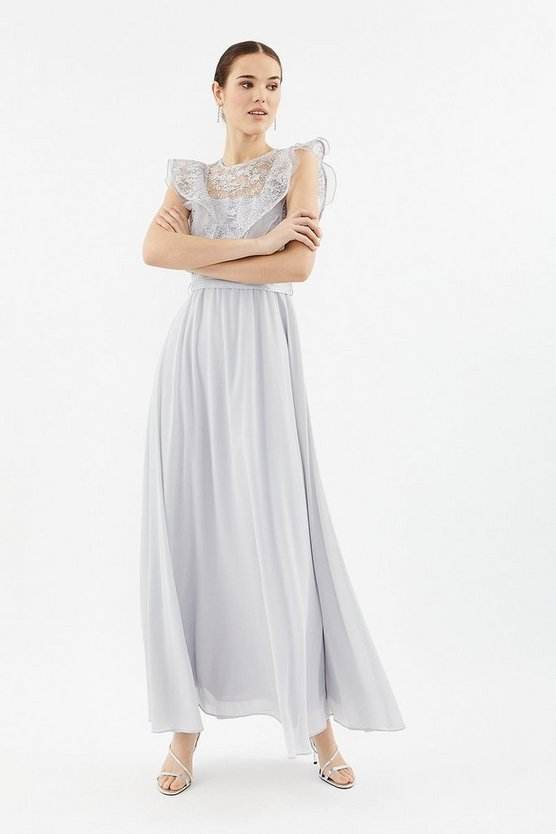Silver Frilled Sleeve Lace Bodice Maxi Dress
