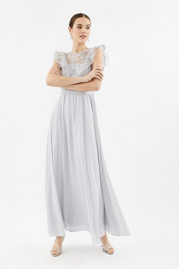 Silver Frilled Sleeve Lace Bodice Dress
