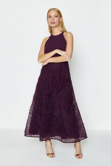 Aubergine 3D Textured Full Midi Dress