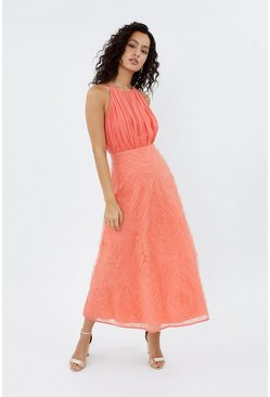 Coral 3D Textured Full Midi Dress