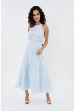 Ice blue 3D Textured Full Midi Dress