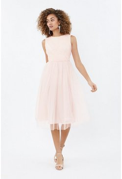 Blush Tulle Ruched Bodice Midi Dress