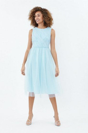 Ice blue Tulle Ruched Bodice Midi Dress