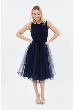 Navy Tulle Ruched Bodice Midi Dress