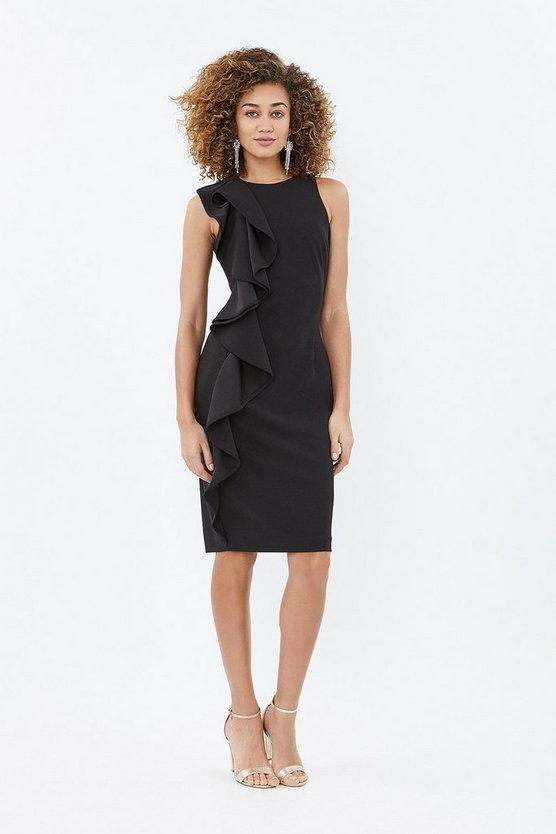 Black Ruffle Front Crepe Shift Dress