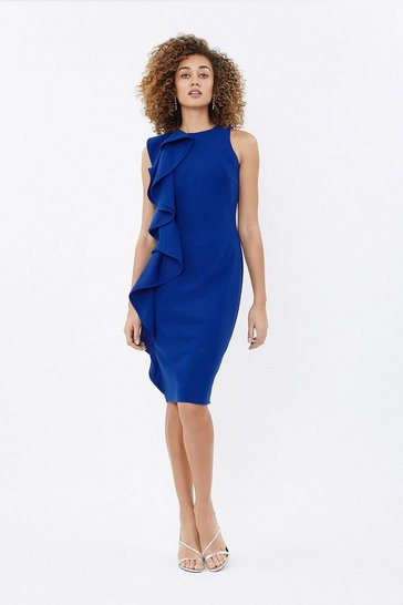 Cobalt Ruffle Front Crepe Shift Dress