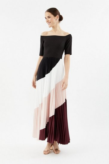 Mulberry Colour Block Pleat Maxi Dress