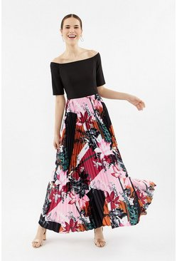 Multi Colour Block Pleat Maxi Dress