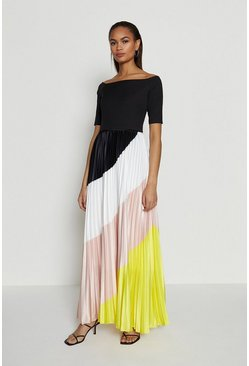 Yellow Colour Block Pleat Maxi Dress