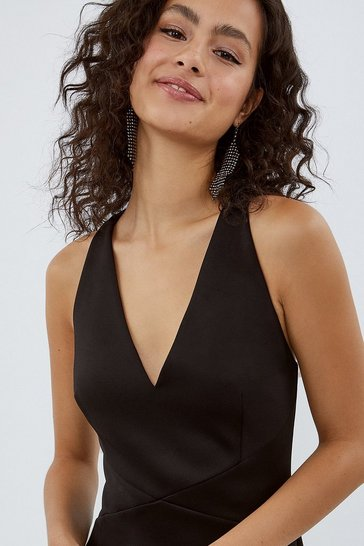 Black V Neck Strappy Back Maxi Dress