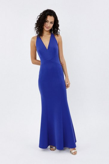 Cobalt V Neck Strappy Back Maxi Dress