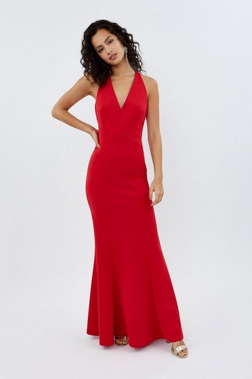 Red V Neck Strappy Back Maxi Dress