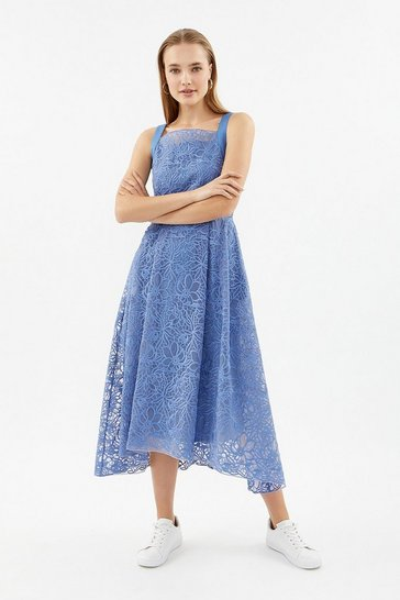 Blue Embroidered Organza Full Midi Dress