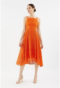 Orange Embroidered Organza Full Midi Dress