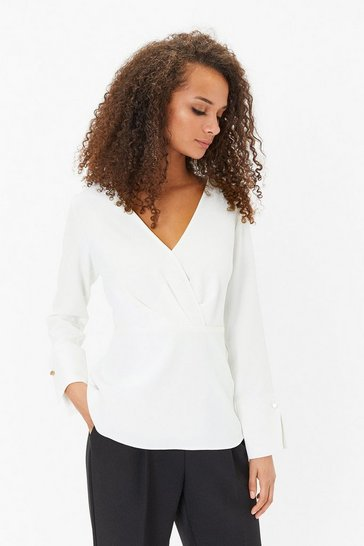 Ivory Long Sleeve Wrap Front Top