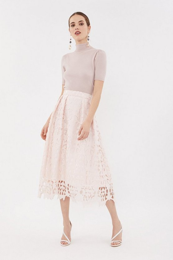 Blush Cutwork Full Midi Skirt