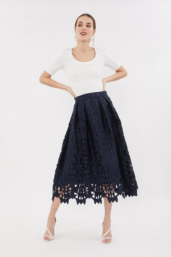 Navy Cutwork Full Midi Skirt