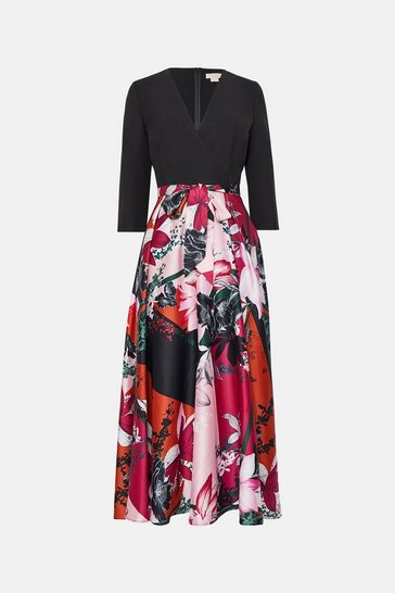 Copper Solid Wrap Bodice Printed Skirt Dress