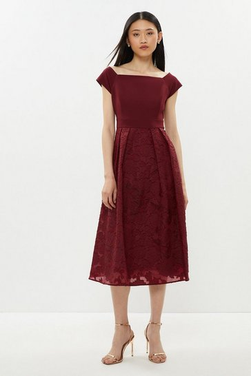 Aubergine Bardot Neck Embroidered Midi Dress