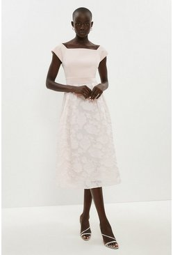 Blush Bardot Neck Embroidered Midi Dress