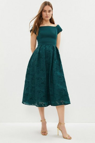 Forest Bardot Neck Embroidered Midi Dress
