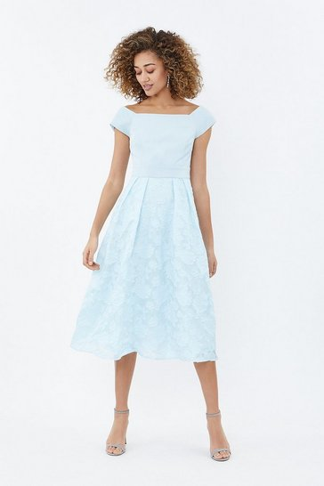 Ice blue Bardot Neck Embroidered Midi Dress