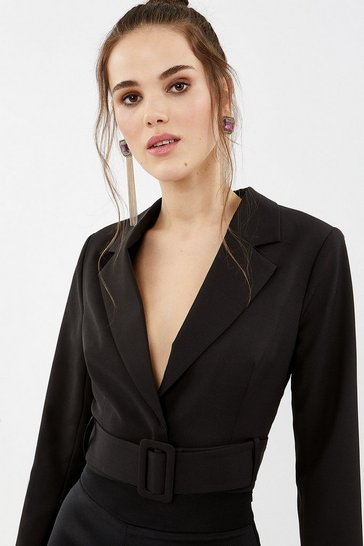 Black Crepe Cropped Belted Jacket