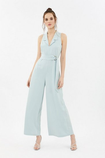Ice blue Tuxedo Collar Wide Leg Jumpsuit