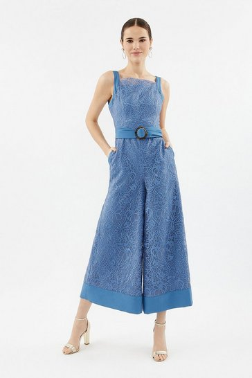 Blue Embroidered Organza Culotte Leg Jumpsuit