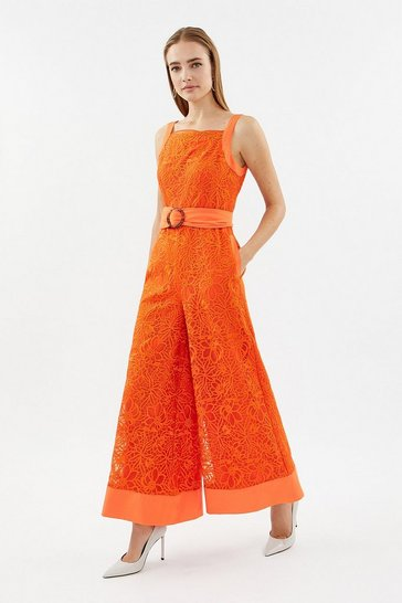 Orange Embroidered Organza Culotte Leg Jumpsuit