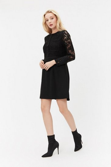 Black  Lace Patch Pocket Dress
