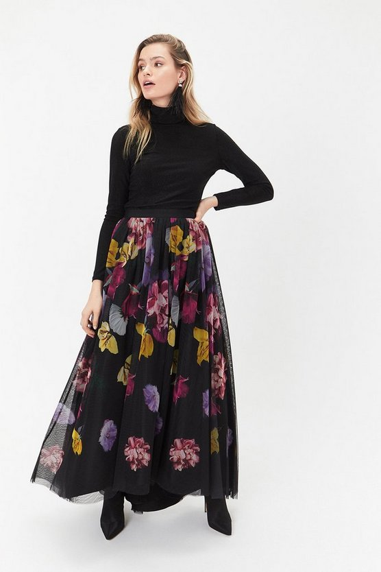 Multi Printed Tulle High Low Skirt