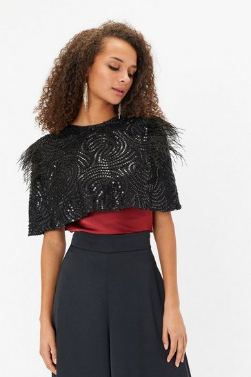 Black Feather Beaded Cape