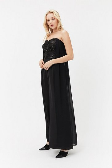 Black Sequin Bodice Cape Jumpsuit